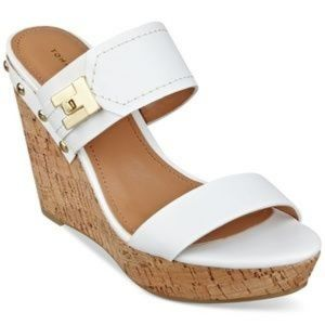 Tommy Hilfiger White Platform Wedge Sandals Size 7